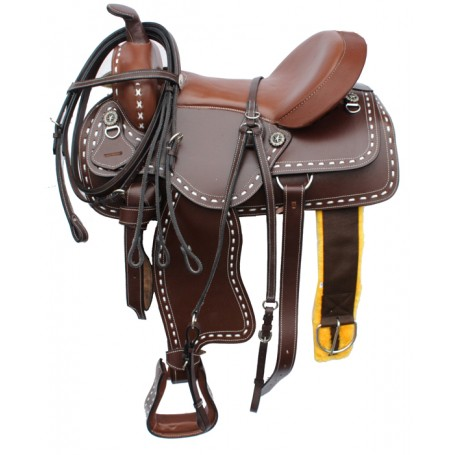 New 16 Buckstitch Brown Western Horse  Saddle with Tack