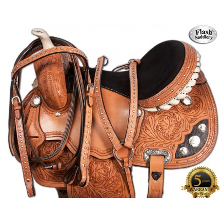 Crystal Tooled Western Barrel Racing Horse Saddle 15 16