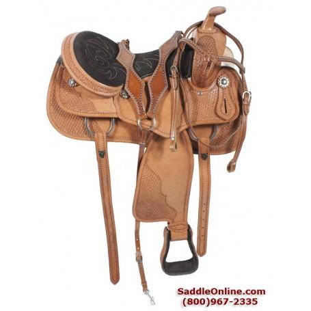 16 Cowboy Western  Premium All Leather Horse Saddle Tack