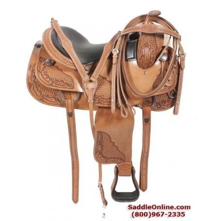 Premium Leather Ranch Pleasure Trail Horse Saddle 17