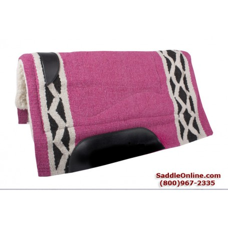 Hot Pink and Black Wool Heavy Western Horse Saddle Pad