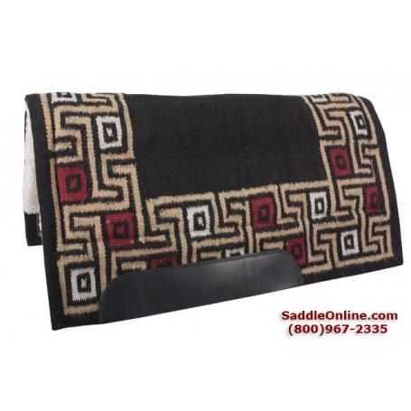 Black and Tan Geometric Wool Heavy Western Saddle Pad