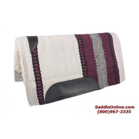 Cream Fuchsia Stripes Pattern Heavy Wool Western Saddle Pad
