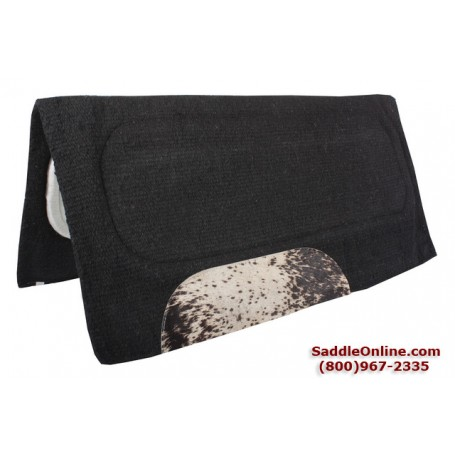 Solid Black Brindle Accent Heavy Wool Western Saddle Pad