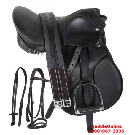Premium 16 Black English Horse Leather Saddle Tack