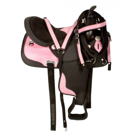 Black Pink Ostrich Synthetic Western Horse Saddle 15 17