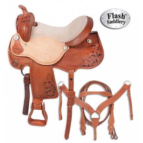 Premium Leather Horse Western Barrel Saddle 14 16