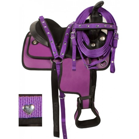 Kids Youth Purple Pony Light Weight Synthetic Saddle 10