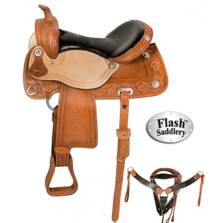 Western Leather Horse Ostrich Seat Barrel Saddle 16