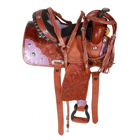 Purple Ostrich Leather Barrel Western Saddle 15