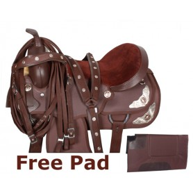 Synthetic Brown Texas Star Show Horse Saddle Tack Pad 15