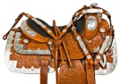 Silver Leather Western Pleasure Show Horse Saddle Tack 16 [10144]