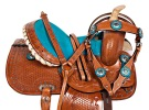 Turquoise Youth Kids Pony Western Trail Saddle Tack 10 12