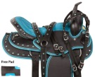Turquoise Synthetic Western Trail Horse Saddle Tack 15 18