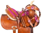 Pink Crystal Pony Youth Kids Western Saddle Tack 10 13