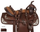 Synthetic Brown Silver Trail Show Horse Saddle Tack 18