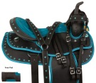 Teal Black Western Pleasure Trail Horse Saddle Tack 14 18
