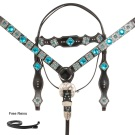 Black Turquoise Blue Silver Buckle Style Western Horse Tack Set [10755]