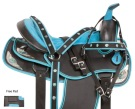 Turquoise Silver Western Synthetic Horse Saddle Tack 15 18 [10768]
