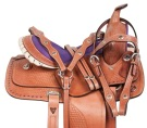 Purple Show Kid Seat Youth Western Pony Saddle Tack 10