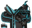 Turquoise Kid Seat Western Synthetic Horse Saddle Set 10 13 [10902]
