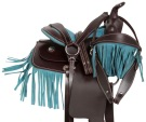 "10"" Turquoise Fringe Brown Western Horse Saddle Tack"
