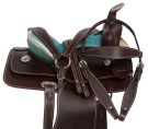 12' Turquoise Western Leather Barrel Racing Youth Saddle [10932]