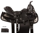 Black Silver Barrel Show Western Trail Horse Saddle Tack 16 [10955] (Out Of Stock)