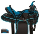 Blue Crystal Western Cordura Trail Show Horse Saddle 14 18 [10974]