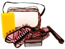 Six Piece Pink Zebra Crystal Bling Horse Grooming Kit [9950]