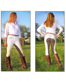 22 - 38 Plaid Full Seat Riding Ladies Breeches [C2056]