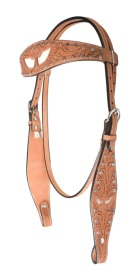 Medium Oil Hand Carved Show Headstall with White Angel Wings [T0196H]